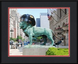 picture-of-blackhawk-helmet-on-the-lion-at-the-art-institute