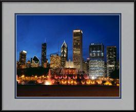 buckingham-fountain-blue-sky-framed-picture
