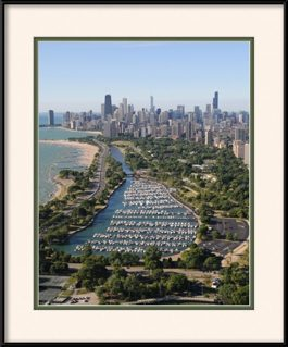 aerial-view-of-diversey-harbor-chicago-lakefront-framed-picture