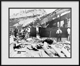 framed-picture-of-bricklayers-building-wrigley-field-bleachers