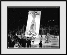 framed-print-of-black-white-blackhawks-banner-raising2013