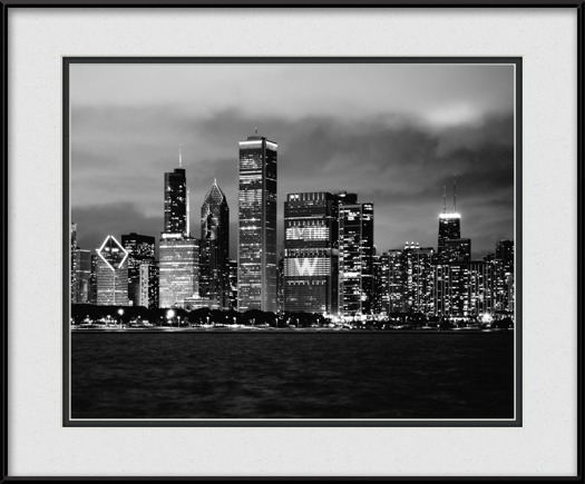 framed-print-of-flythew-on-chicago-cubs-skyline-black-white