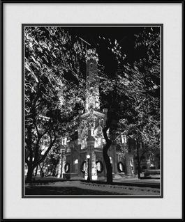 chicago-water-tower-holiday-lights-bw-framed-picture