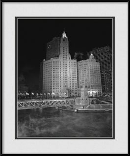 picture-of-wrigley-building-at-night-b-w