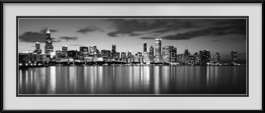 picture-of-chicago-reflections-at-night-in-black-white