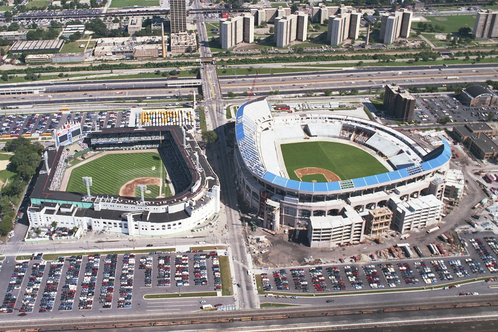 old and new comiskey park aerial picture chicago white sox framed