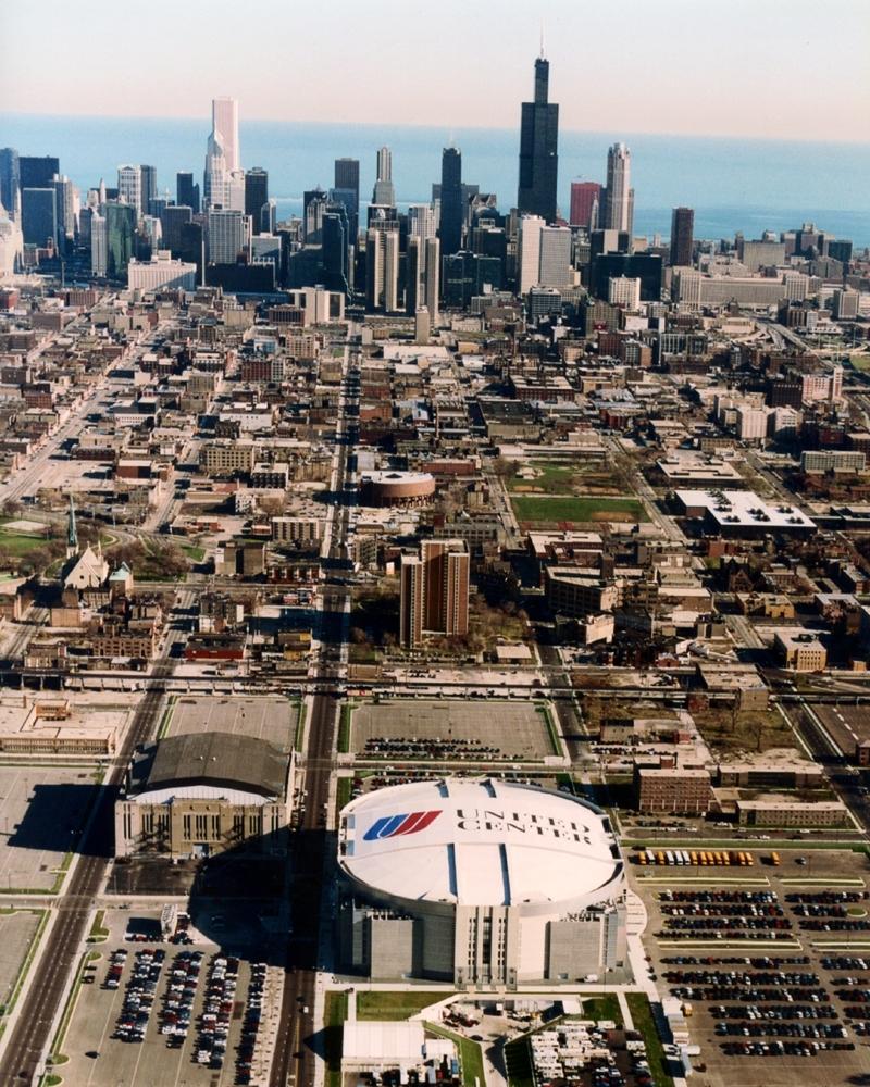 aerial of chicago stadium and united center chicago blackhawks