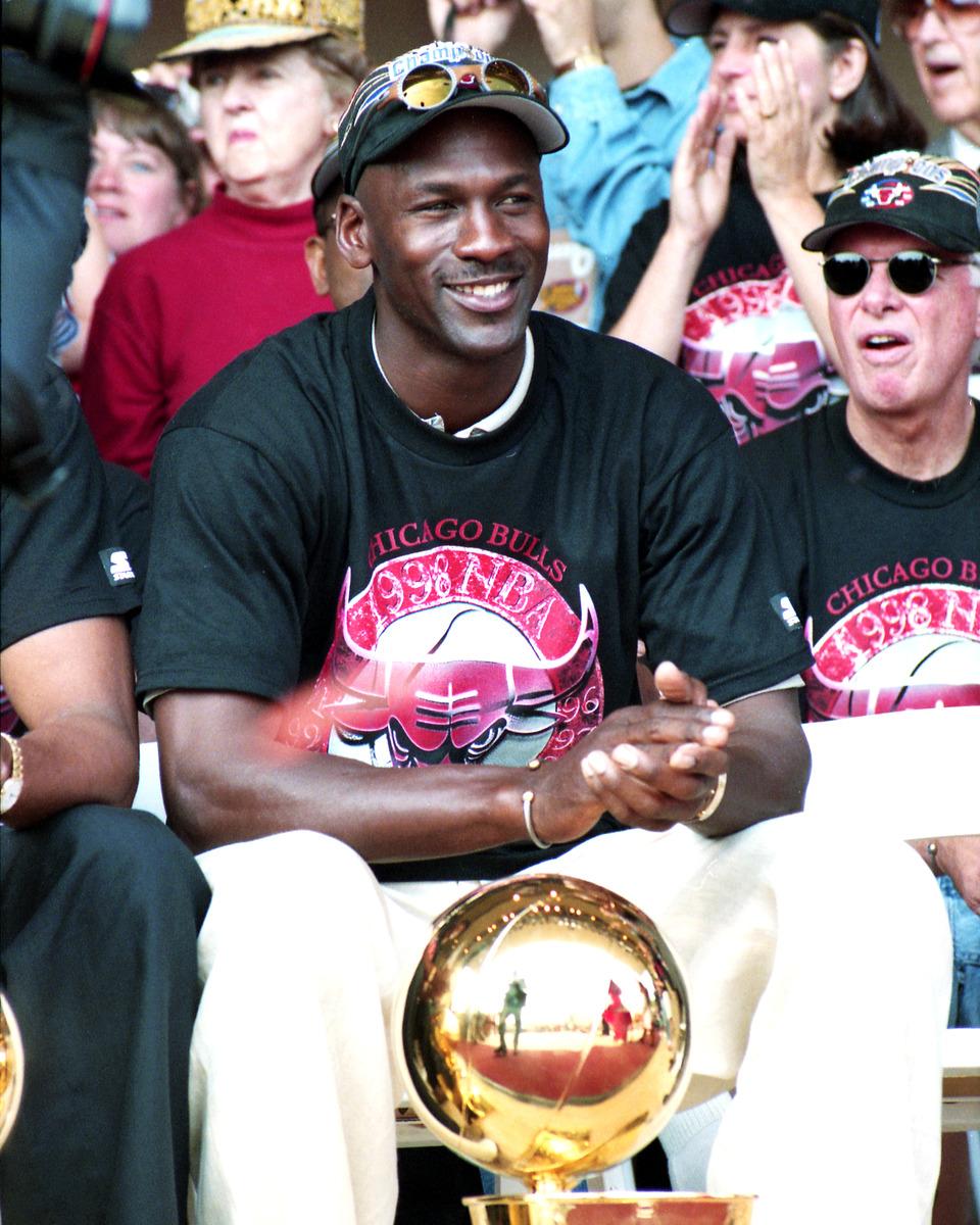 Framed Print Of Michael Jordan With Trophy