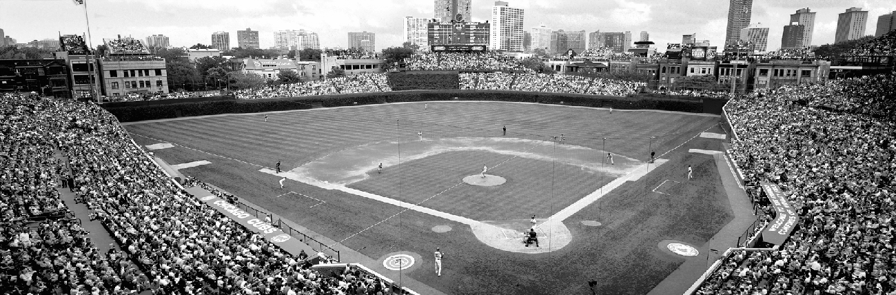 Framed print of wrigley field black and white